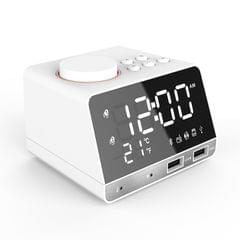 K11 Bluetooth Alarm Clock Speaker Creative Digital Music Clock Display Radio with Dual USB Interface, Support U Disk / TF Card / FM / AUX, US Plug(White)