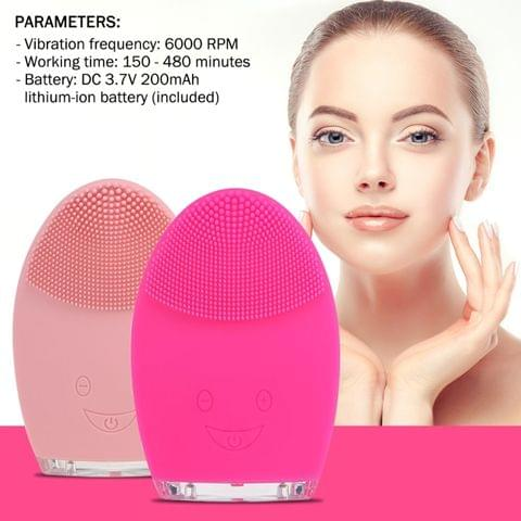 Mini Electric Face Cleansing Brush Rechargeable Silicone Facial Cleansing Deep Pore Cleaning Water-Resistant Vibrating Massager(Light Pink)