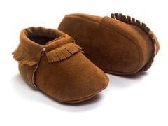 Newborn Baby PU Suede Moccasins Soft Shoes Fringe Soft Soled Shoes First Walker(Brown)
