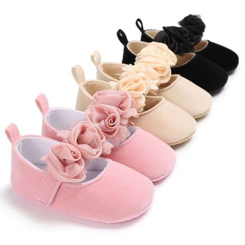 Lovely Flower Baby Girl Newborn Crib Shoes Soft Prewalker Anti-slip Baby Shoes(Brown)