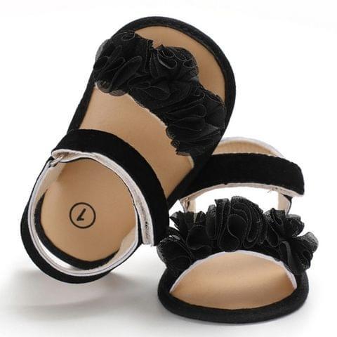 Flowers Baby Girls Shoes Anti-slip Sandals Prewalkers Walking Shoes Beach Sandals, Baby Age:13-18 Months(Black)