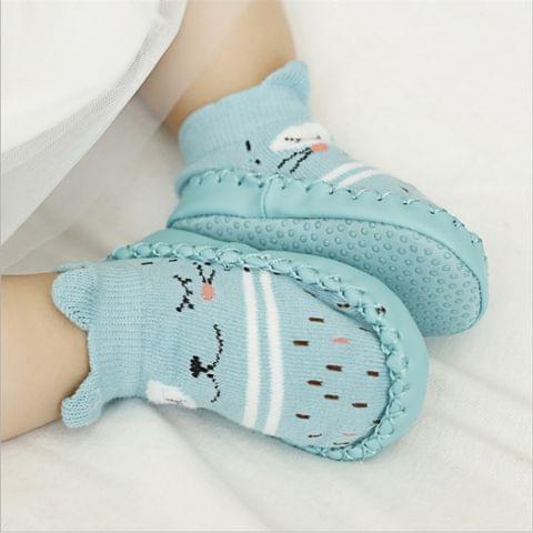 Fashion Baby Socks With Rubber Soles Infant Sock Newborn Autumn Winter Children Floor Socks Shoes Anti Slip Soft Sole Sock(525 khaki)