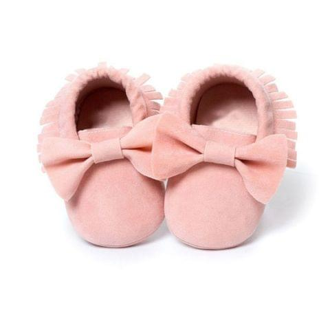 Baby Girls Shoes First Walkers Newborn Baby Moccasins Soft Sole Non-slip Footwear Shoes(Baby Pink)