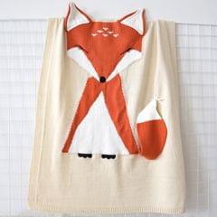 Fox Pattern Stereoscopic Ears Baby Knitted Blanket(Beige)