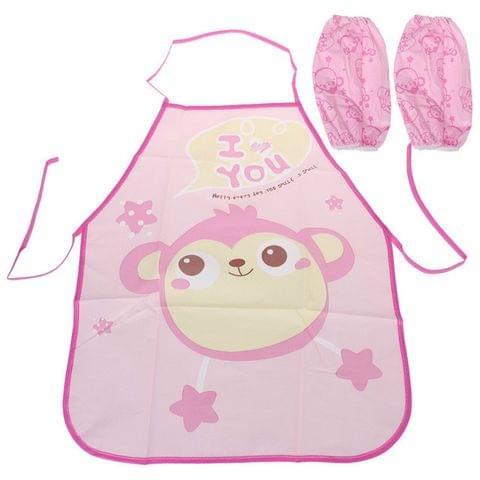 Cute Kids Apron Sleeves Waterproof Protection Set(monkey)