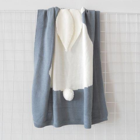 Rabbit Pattern Stereoscopic Ears Baby Knitted Blanket(Grey)
