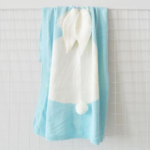 Rabbit Pattern Stereoscopic Ears Baby Knitted Blanket(Baby Blue)