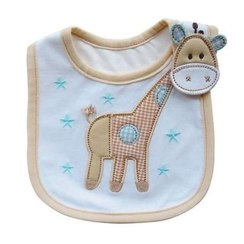 3 PCS Baby Bibs Cute Cartoon Pattern Toddler Baby Waterproof Saliva Towel Cotton Fit 0-3 Years Old  Infant Burp Cloths(Beige giraffe)