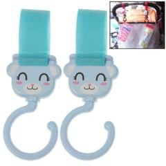 2 PCS Lovely Cartoon Style Hook and Loop Fastener Enclosure Hanger Clasp Hook for Baby Carriage(Blue)
