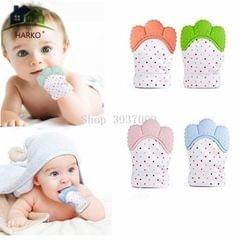 Baby Silicone Mitts Teething Mitten Glove Candy Wrapper Sound Teethers Toy Gifts Newborn Nursing Mittens Teether(Orange)