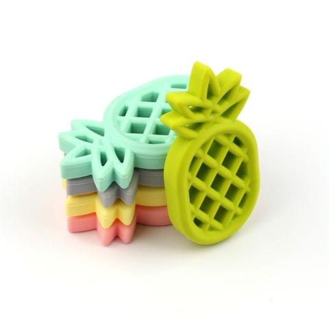 5 PCS Pineapple Silicone Teether Babies Teething Pendant Nursing Soft Silicone Safe Toys for Soothe Teething Baby(Blue)