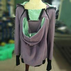 Three-in-one Multi-function Mother Kangaroo Zipper Hoodie Coat Size: L, Chest: 97-100cm, Waist: 76-80cm, Hip: 103-107cm (Light Purple+Green)