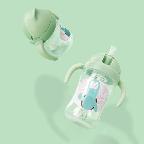 Food Grade Plastic Child Cute Sippy Water Bottle With Handle(Green 270ml)