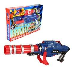 Planet of Toys Ping Pong Mini Machine Gun with 6 Pieces Bowling and 6 Pieces Ping Pong Game Set for Kids/Children, Blue
