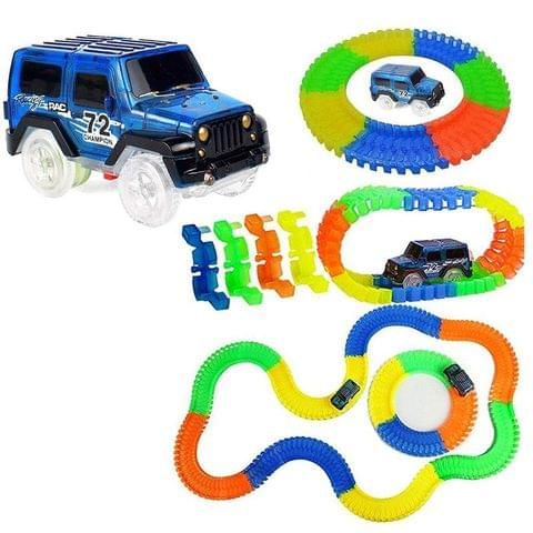 Planet of Toys Magic Car Track Set | Flexible Tracks 220-Piece Glow-in-The-Dark Racetrack with A SUV Car Play Set for Kids, Children.