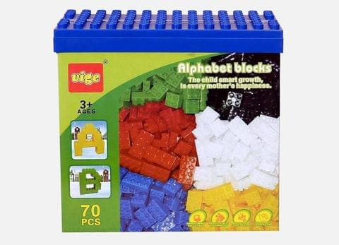 Planet of Toys Alphabet Building Blocks (70 Pieces)