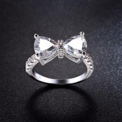 Female Fashion Lovely Bowknot Design Zircon Ring, Ring Size:7