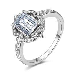 Woman Fashion Square Diamond Wedding Ring, Ring size:6(White)
