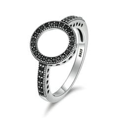 2 PCS Real 925 Sterling Silver Lucky Circle Diamond Halo Rings, Ring Size:6(Black)