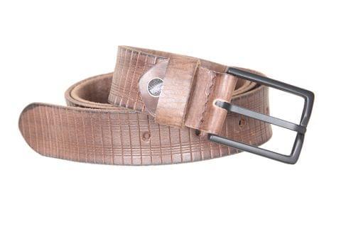 Designer Select Genuine Formal Brown Leather Belt with Black Pin Buckle