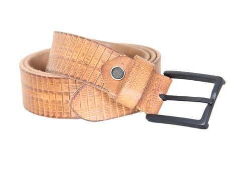 Designer Select Genuine Formal Tan Leather Belt with Black Pin Buckle
