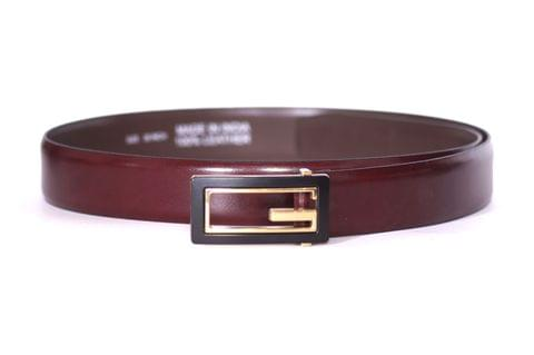 Designer Select Genuine Formal Cherry Red Leather Belt with Imported Buckle