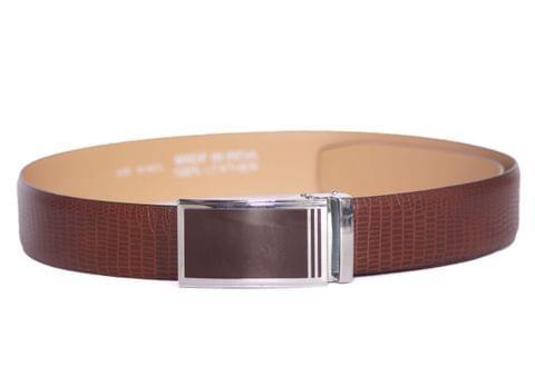 Designer Select Genuine Formal Brown Leather Belt with Black Plate Buckle - Snake