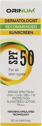 ORINUM Sunscreen Lotion - SPF 50 PA+++  (50 ml)