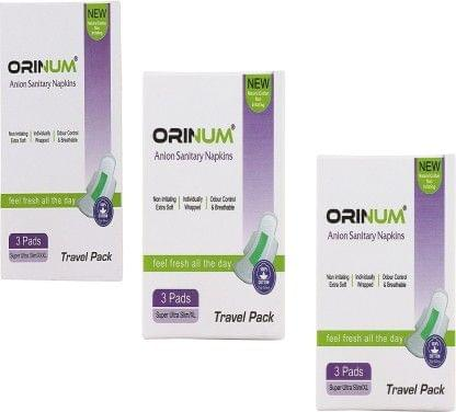 Orinum New Natural Cotton Non Irritating Travel Pack of Sanitary Pad  (Pack of 3)