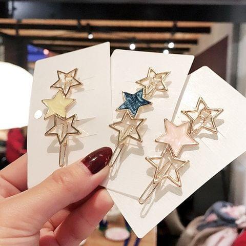 Women Cute Round Star Alloy Hair Ornament Hairpin Fashion Hair Accessories(Blue Star)