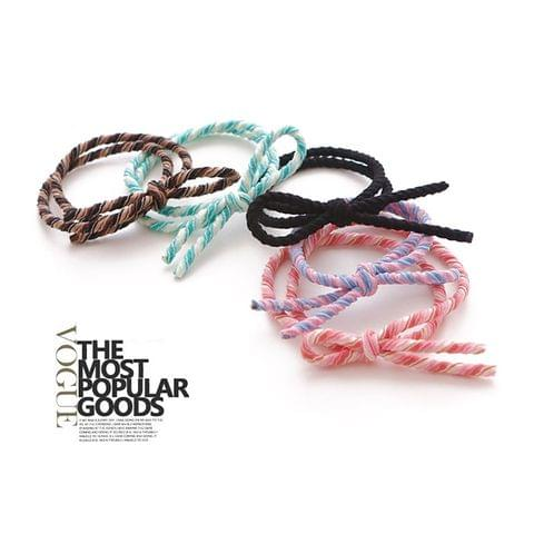 20 PCS Bowknot style Dual Elastic Rubber Hair Band Ring Random Color Delivery