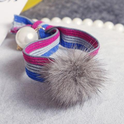 5 PCS Mink Ball Style Widened Stripe Elastic Rubber Hair Band Rope Random Color Delivery