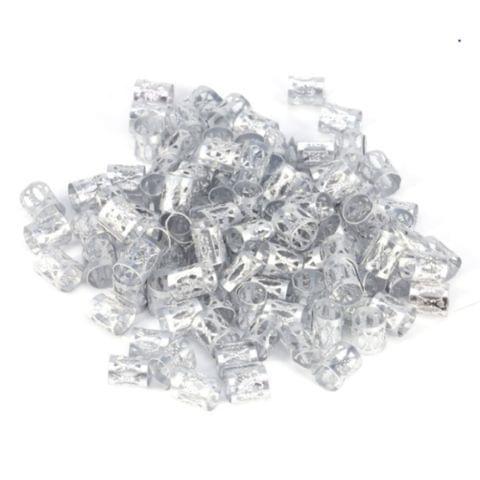 3 PCS Dreadlocks Aluminum Rice Beads Hair Accessories(Silver )