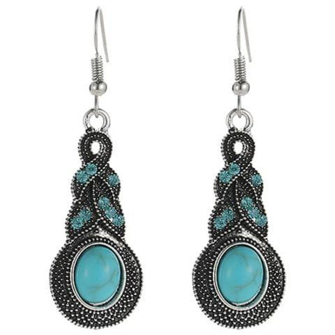 Tibetan Silver Pendant Earrings Natural Stone Drop Silver Pendant  Earrings for Women, Metal color:night owl