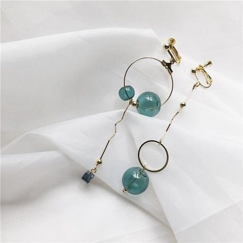 Asymmetrical Simple Vintage Geometric Dark Green Crystal Earrings for Women(Clip Earrings)