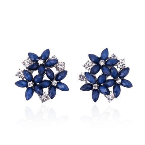 Fashion Zircon Rhinestone 3 Flower Stud Earrings for Women Jewelry, Metal Color:black
