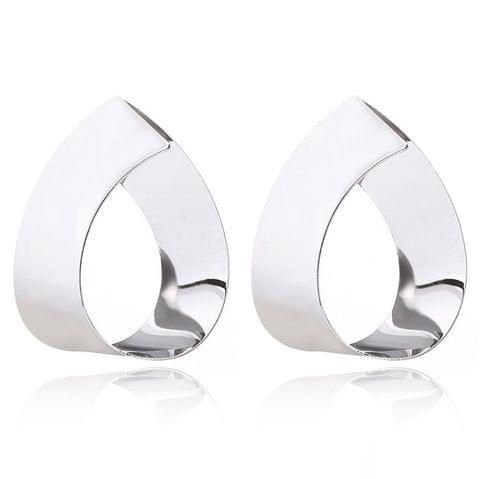 Personal Ear Accessories Geometric Drop Mirror Metal Earrings(Silver)