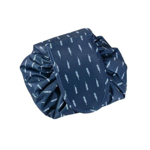 Fashion Waterproof Large Capacity Quick Drawstring Makeup Jewelry Storage Bag Women Travel Cosmetic Bag Toiletry Tool Kit(Navy feather)