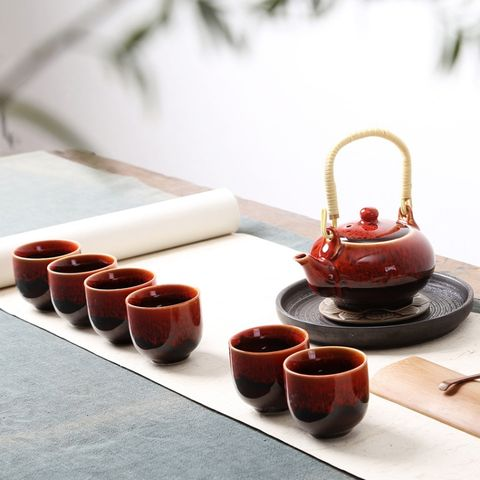 Ceramic Antique Kung Fu Teaware Beam-lifting Teapot Teacup Sets(Chicken Blood Red)\t    \t\t        \t