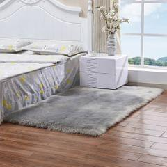 Luxury Rectangle Square Soft Artificial Wool Sheepskin Fluffy Rug Fur Carpet, Size:60x150cm(Gray)