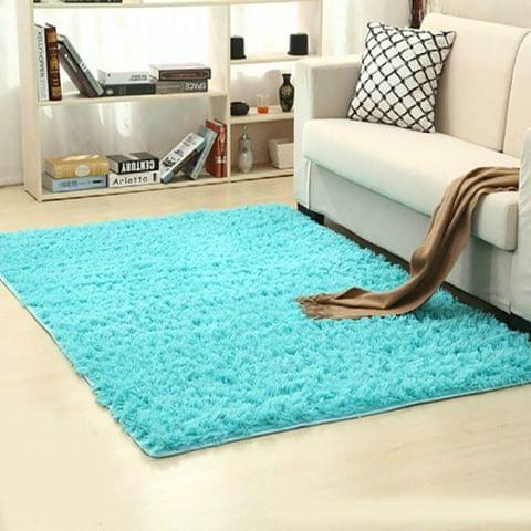 Shaggy Carpet for Living Room Home Warm Plush Floor Rugs fluffy Mats Kids Room Faux Fur Area Rug, Size:160x200cm(Blue)