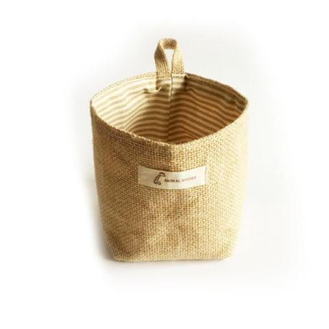 2 PCS Living Room Storage Sack Cloth bags Hanging Grocery Cloth Flowerpot Storage Basket(Yellow Stripe)