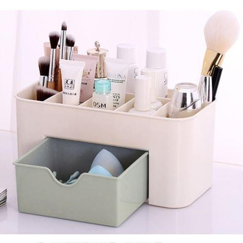Multi-function Sub Format Desktop Cosmetics Tableware Organize Debris Storage Box Container Holder with Drawer(Light Green)