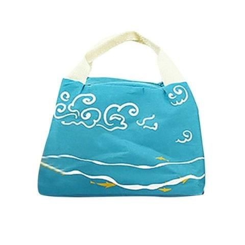 Waterproof Oxford Cloth Thermal Insulated Lunch Box Tote Cooler Bag Bento Pouch Lunch Storage(Blue)