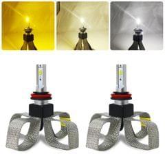 2 PCS T9 H8 / H9 / H11 9-36V / 25W / 3000K 4300K 6000K / 3000LM IP68 Car Triple Color LED Headlight Lamps