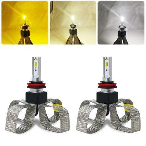 2 PCS T9 H8 / H9 / H11 9-36V / 25W / 3000K 4300K 6000K / 3000LM IP68 Car Triple Color LED Headlight Lamps