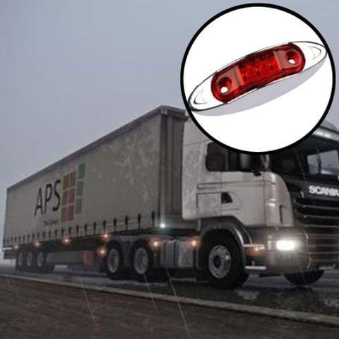 10 PCS DC 10-30V Car Truck Trailer Piranha 3-LED Side Marker Indicator Lights Bulb Lamp, Light Color: Red