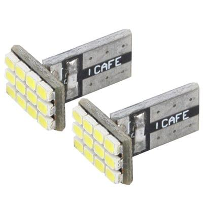 T10 White 12 LED Car Signal Light Bulb (Pair)
