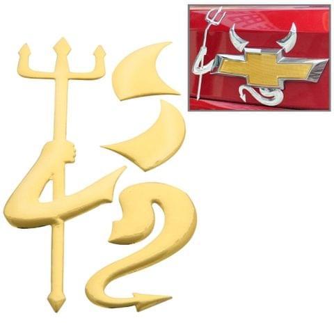 3D Demon Pattern Auto Emblem Logo Decoration Car Sticker, Size: 15cm x 5.5cm (approx.)(Gold)