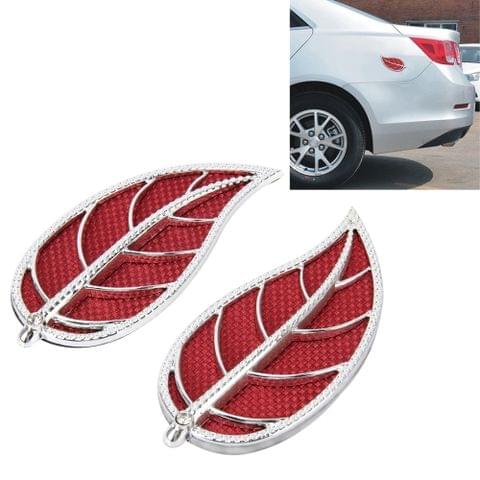 2 PCS Leaf Shape Car Plastic Decorative Sticker, Size: 12.0 x 6.0cm(Silver + Red)